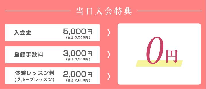 当日入会特典 入会金・登録手数料・体験レッスン料 → 0円